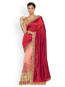 Pink & Red Saree